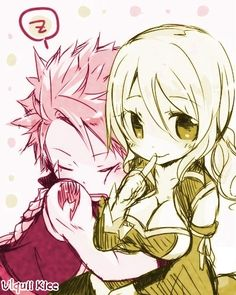 Pink and Yellow Natsu and Lucy