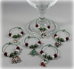 Christmas Wine Charms by MeDayTreasures on Etsy