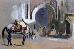 Cheval devant la porte d'une ville von Edouard Edmond Doigneau