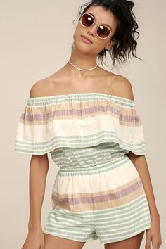 O'Neill Pearce Beige Striped Off-the-Shoulder Romper