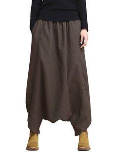 Tasche allungate elastiche casuali sciolte Harem Pantaloni per le donne