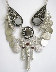 Classic Belly Dance or Tribal Coin Necklace with Chain Tassels & Mirrors - SILVER