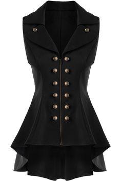 $22.50 Double Breast Lapel High Low Dressy Waistcoat - Black