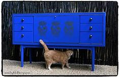 Refurbished art deco blue sideboard with gold