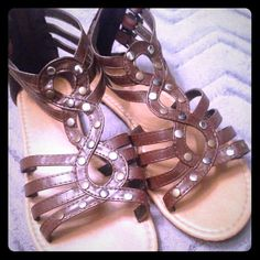 Brown/tan sandals Mini gladiator type sandals, studs! Still in great condition to wear Shoes Sandals