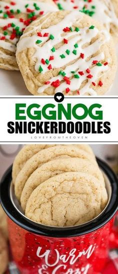 Easy and delicious eggnog cookies, a great eggnog snickerdoodle Christmas cookie. #eggnog #christmascookies #snickerdoodle #eggnogcookies