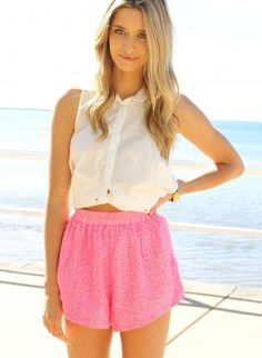 Pink Shorts - Neon Pink High Waisted Shorts http://www.ustrendy.com/store/product/92953/neon-pink-high-waisted-shorts-with-sequin-front