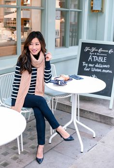 Extra Petite. Navy striped sweater+navy pants+navy pumps+beige scarf. Fall Casual Business Outfit 2016