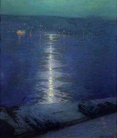 L. Birge Harrison (American, 1854-1929) - Moonlight on The River (c. 1919)