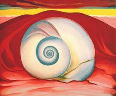 georgia o'keefe used warm colours to make the shell stand out.