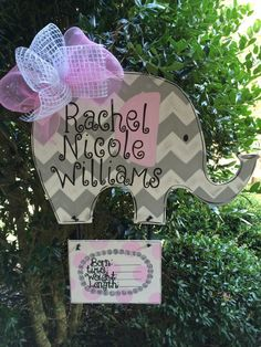 Baby elephant door hanger Elephant birth by GlitterBitofPaint, $55.00