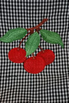 Black and white gingham tea towel with cherries by seauxsouthern, $10.00