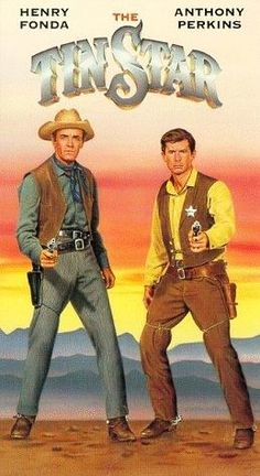 THE TIN STAR (1957) - Henry Fonda & Anthony Perkins - Directed by Anthony Mann - Paramount - VHS cover art.