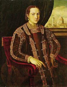 Agnolo Bronzino (1503-1572) Elenora di Toledo (1522-1562) 1572 - Love the trim on her zimurra