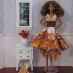 Ooak Barbie doll dress made from vintage circle hankie with autumn leaves