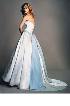 """""""girls in white dresses with blue satin sashes""""  :  I can't believe I managed to find a picture of my wedding dress after all these years.  Still one of my favorite things...Amsale a-line dress with blue silk taffeta sash."""