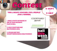 Balithisweek instagram Contest  We're giving away 2 voucher, Each voucher for 2 people, Every pic is an entry, Play as often as you like, Dont miss this rare chance. #courtyard #courtyardnusadua #guide #instacontest #balithisweek As You Like, Bali, Events, People, How To Make, Instagram, Happenings, People Illustration