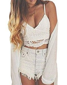 87abb104e1c2f eshion Womens Sexy VNeck Strap Floral Hollow Out Lace Slim Casual Crop Tops  Asian S White