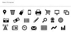 MODERN PICTOGRAMS ➤ is a typeface for interface designers and programmers. Designed in early 2011 for the Flatfile Wordpress theme, the pictograms stay sharp when used large or small ........