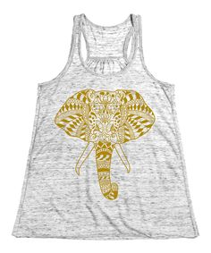 Another great find on #zulily! White Marble & Gold Elephant Racerback Tank by LC Trendz #zulilyfinds
