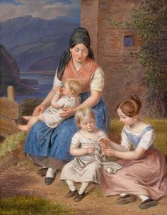 The Knitting Lesson by Franz Bernhardt (1800-1860)