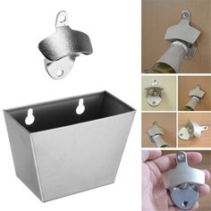 Stainless Steel Wall Mounted Bottle Cap Opener & Catcher Box with Screws