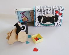 Match Box Gift with Origami Pug, Birthday Matchbox, Cute gift, Origami Pug Birthday Card, matches bo Origami Dog, Origami Folding, Origami Paper, The Pug, Dog Birthday, Birthday Cards, Fawn Pug, Cute Pugs, Bubble Envelopes