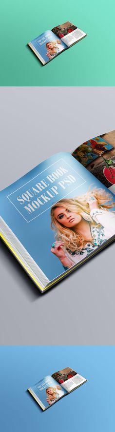 Realistic Square Book Mockup PSD