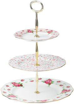 Royal Albert Old Country Roses White Vintage 3 Tier Cake Plate