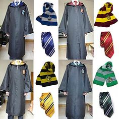 Harry Potter Cloak Tie Scarf Gryffindor/Hufflepuff/Slytherin/Ravenclaw Costume E Harry Potter Cloak, Harry Potter Fancy Dress, Harry Potter Uniform, Mode Harry Potter, Hogwarts Uniform, Harry Potter Cosplay, Harry Potter Merchandise, Harry Potter Outfits, Harry Potter Hermione