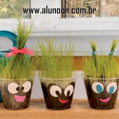 """Crafts for Kids crafts- we just did this in preschool, and the kids LOVED giving them """"haircuts"""" today! Kids Crafts, Preschool Crafts, Projects For Kids, Craft Projects, Arts And Crafts, Craft Ideas, Easy Crafts, Garden Crafts For Kids, Spring Projects"""