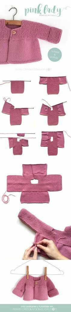 Aprende a Tejer una adorable Rebeca de Punto con este Tutorial paso a paso con p., Aprende a Tejer una adorable Rebeca de Punto con este Tutorial paso a paso con p. Baby Knitting Patterns, Knitting For Kids, Baby Patterns, Free Knitting, Knitting Projects, Crochet Patterns, Knitting Ideas, Pink Ladies, Knitted Baby Cardigan
