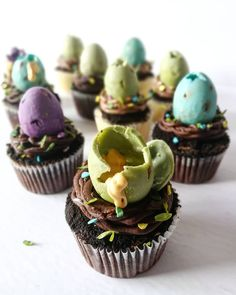 by Cupcakes & Studmuffins Egg Cupcakes, Dino Eggs, Desserts, Food, Tailgate Desserts, Deserts, Essen, Postres, Meals