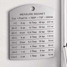 Measure MagnetHandy measure conversion magnet is a quick reference for cooks.