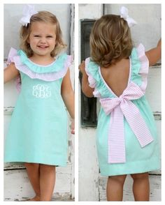 Mint Green Josie Dress - Our extremely popular Josie dress is back with a great look! Beautiful mint green fabric with a pink seersucker trim. Deep V in back has a pink seersucker bow at the bottom. This dress is nice and cool for your summer church pi Sewing For Kids, Baby Sewing, Dresses Kids Girl, Kids Outfits, Little Girl Summer Dresses, Dress Girl, Dot Dress, Little Girl Fashion, Kids Fashion