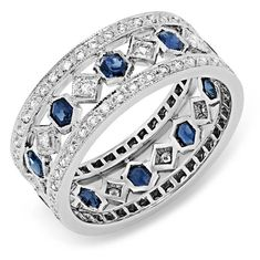 Diamond and Blue Sapphire Ring - Wide Bands - Rings