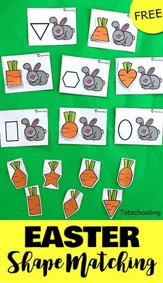 FREE shape matching activity for toddlers and preschoolers with a rabbit theme. Feed the bunny with the correct shaped carrot! Easter activities Feed the Easter Bunny Shape Matching Montessori Activities, Preschool Learning, Toddler Preschool, Preschool Activities, Easter Activities For Toddlers, Educational Activities, Montessori Kindergarten, Educational Websites, Kindergarten Worksheets