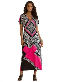 Graphic Print Maxi Dress by Denim 24/7® | Plus Size Dresses and Skirts | Roamans