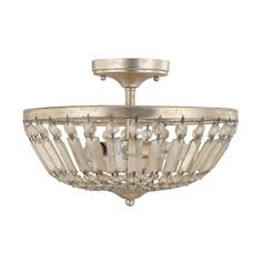 $240 TOP OF THE STAIRS OPTION 2 Fifth Avenue Winter Gold Three Light Semi Flush Fixture Capital Lighting Fixture Company S
