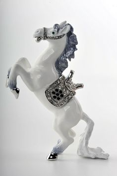 Faberge Horse trinket box by Keren Kopal Swarovski Crystal - Each item is made of pewter
