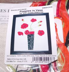 """Design Works POPPIES IN VASE Counted Cross Stitch Kit  14"""" x 17"""""""