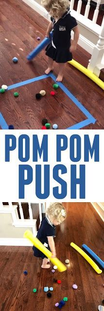 Pom Pom Push Indoor Game for Kids! Easy and quick low-prep activity for toddlers and preschoolers. Great if you are stuck inside and need something to get toddlers moving! games for kids indoor activities Pom Pom Push Indoor Game for Kids Indoor Activities For Toddlers, Gross Motor Activities, Indoor Activities For Kids, Activity Games, Toddler Preschool, Toddler Crafts, Preschool Activities, Kids Crafts, Baby Crafts