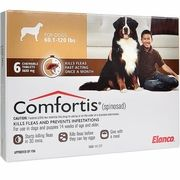 Comfortis For Dogs 60 120 Lbs Brown 6 Chew Tabs Cat Fleas Pet Medications Dogs