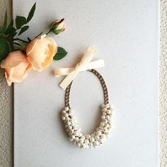 Beautiful handmade pearl necklace with ribbon Lovely handmade Pearl necklace 😍with soft cream color ribbon, adjusts to desirable length🎀 Hwl boutique Jewelry Necklaces