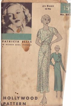 HOLLYWOOD PATTERN 682 MISSES' 1930'S 1 PIECE FROCK SIZE 42 PATRICIA ELLIS