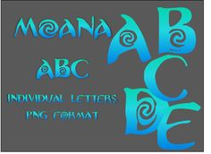 Moana alphabet clippart PNG files Blue-green granadient by stick2love on Etsy https://www.etsy.com/listing/536066029/moana-alphabet-clippart-png-files-blue