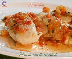 Filetti di nasello in umido, un piatto gustosissimo e leggero, ideale se state seguendo una sana alimentazione, povera di grassi.