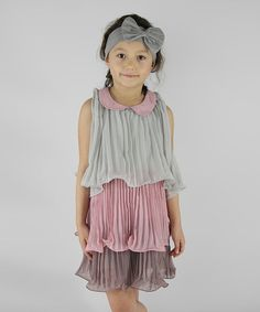 Look what I found on #zulily! Gray & Dust Pink Pleated Ruffle Dress - Infant, Toddler & Girls #zulilyfinds