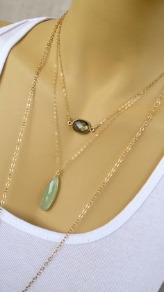 Prehnite Pendant Necklace Reiki infused Minimal necklace layering 14k gold filled vermeil apple green vibrant green heart chakra gemstone - pinned by pin4etsy.com