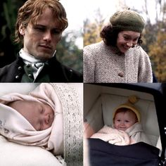 Sam Heughan as Jamie Fraser/MacKenzie with baby Willie and Caitriona Balfe as Claire Randall Fraser with baby Brianna - Outlander_Starz Season 3 Voyager - Episode 304 Of Lost Things - October 1st, 2017